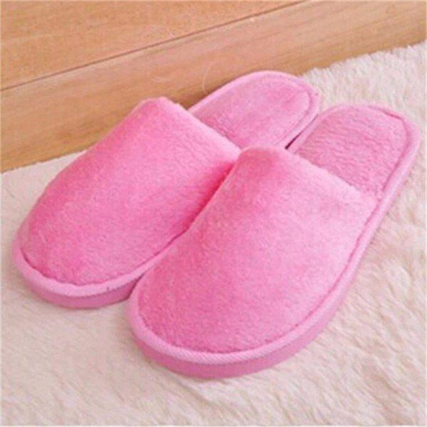 Warm For Woman Home House Floor Soft Plush Slippers - Pink / US 5 - home shoes
