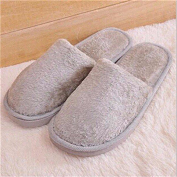 Warm For Woman Home House Floor Soft Plush Slippers - Light Gray / US 5 - home shoes