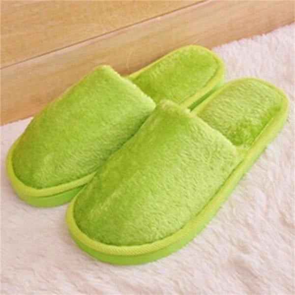 Warm For Woman Home House Floor Soft Plush Slippers - Green / US 5 - home shoes