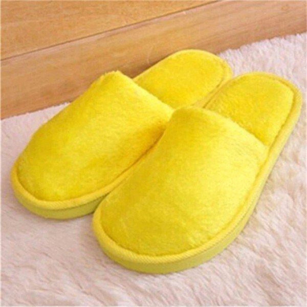 Warm For Woman Home House Floor Soft Plush Slippers - Yellow / US 5 - home shoes