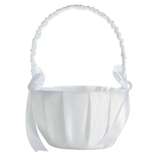 Wedding bride baskets White Satin Flower Basket | Bridelily - flower baskets