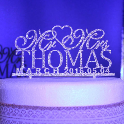 Wedding Custom Name Date Cake Toppers | Bridelily - cake toppers