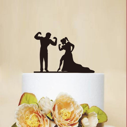 Wedding Funny Fitness Bride Groom Cake Toppers | Bridelily - cake toppers
