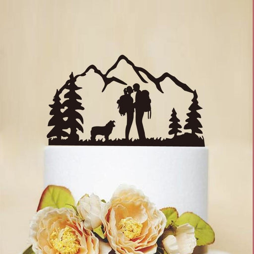Wedding Kiss Couple With Dog Wood Cake Toppers - Bridelily - cake toppers