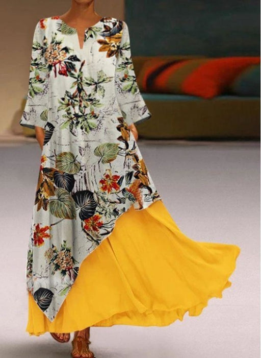 White Casual Floral Tunic V-Neckline Shift Dress - Yellow / S - Maxi Dresses