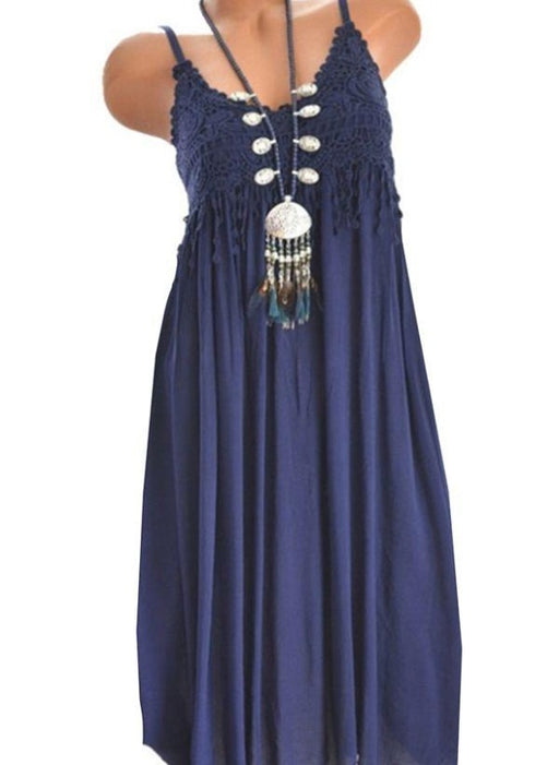White Casual Solid Ruffles Round Neckline X-line Dress - Blue / XS - Maxi Dresses