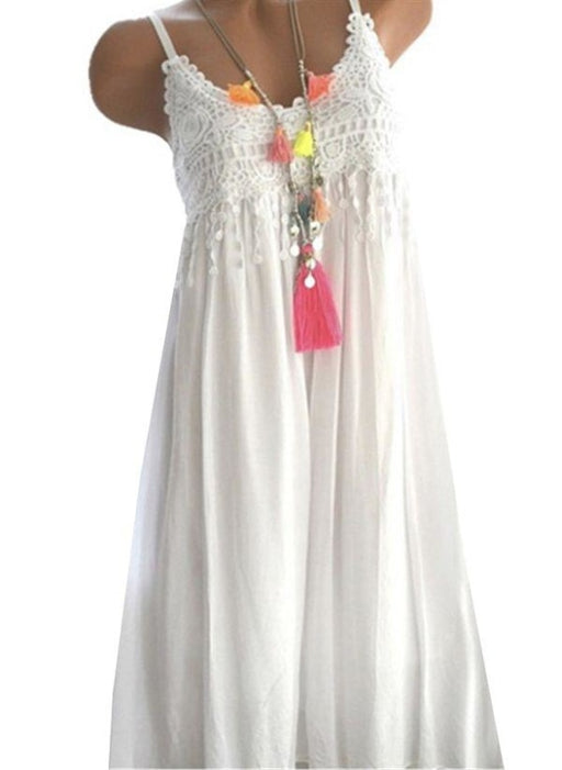 White Casual Solid Ruffles Round Neckline X-line Dress - White / XS - Maxi Dresses