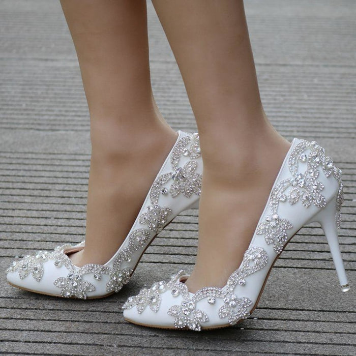 White Diamond High Heel Wedding Pumps | Bridelily - wedding pumps