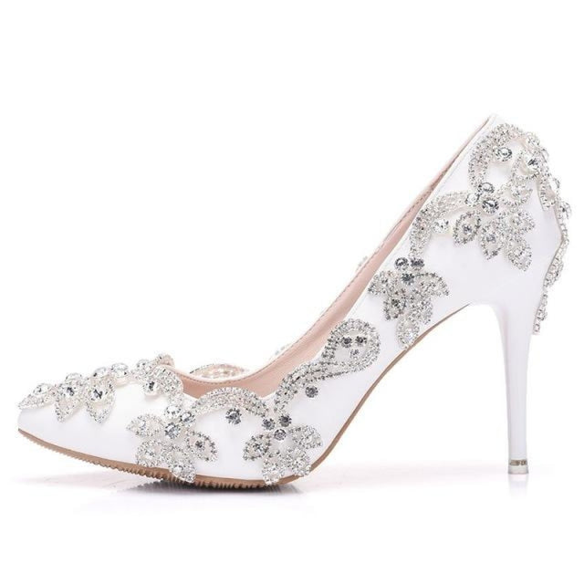 White Diamond High Heel Wedding Pumps | Bridelily - WHITA / 35 - wedding pumps