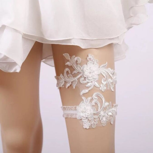 White Embroidery Floral Lace Wedding Garters | Bridelily - garters
