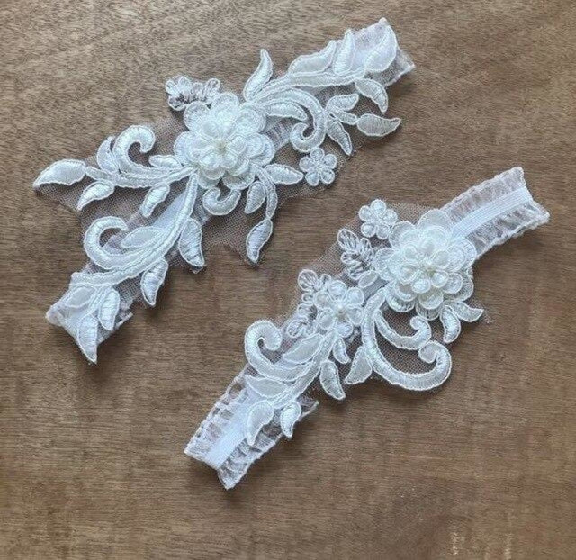 White Embroidery Flower Pearl Wedding Garters | Bridelily - White - garters