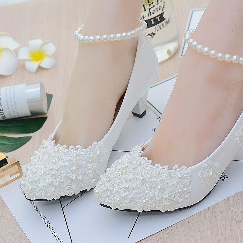 White Flower High Heels Wedding Pumps | Bridelily - wedding pumps