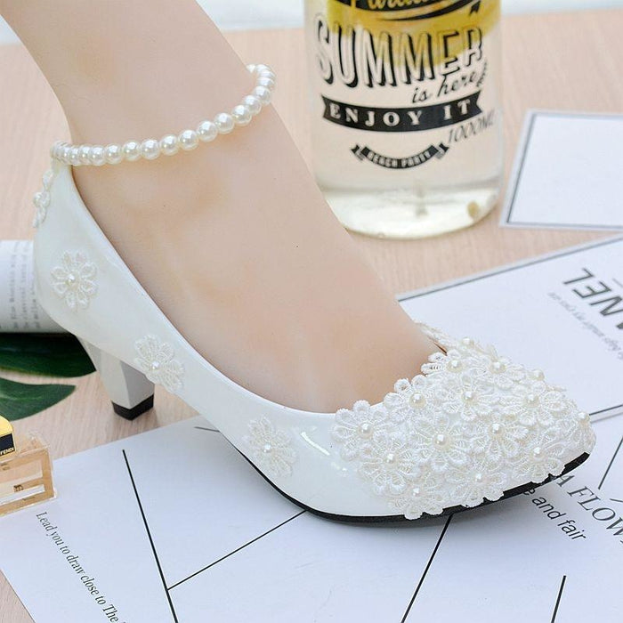 White Flower High Heels Wedding Pumps | Bridelily - white 4.5cm / 3.5 - wedding pumps