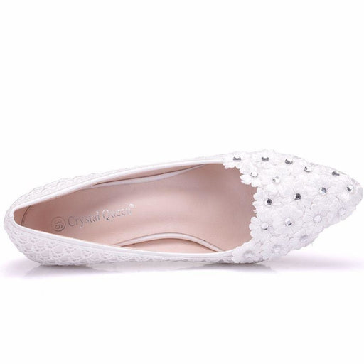 White Flower Low-Heeled Pearl Wedding Pumps | Bridelily - wedding pumps
