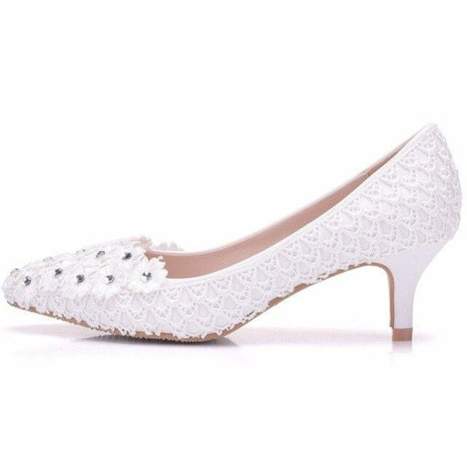 White Flower Low-Heeled Pearl Wedding Pumps | Bridelily - white / 34 - wedding pumps