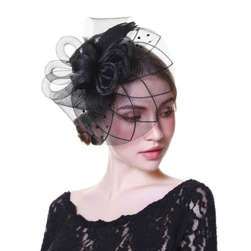 White Flower Mesh Feathers Clip Tea Party Hats | Bridelily - black - tea party hats