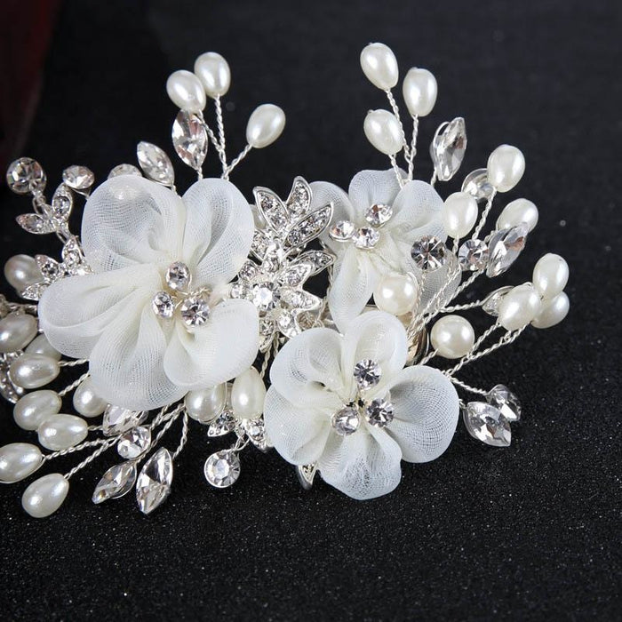 White Flower Pearl crystal Floral Headpieces | Bridelily - floral headpieces