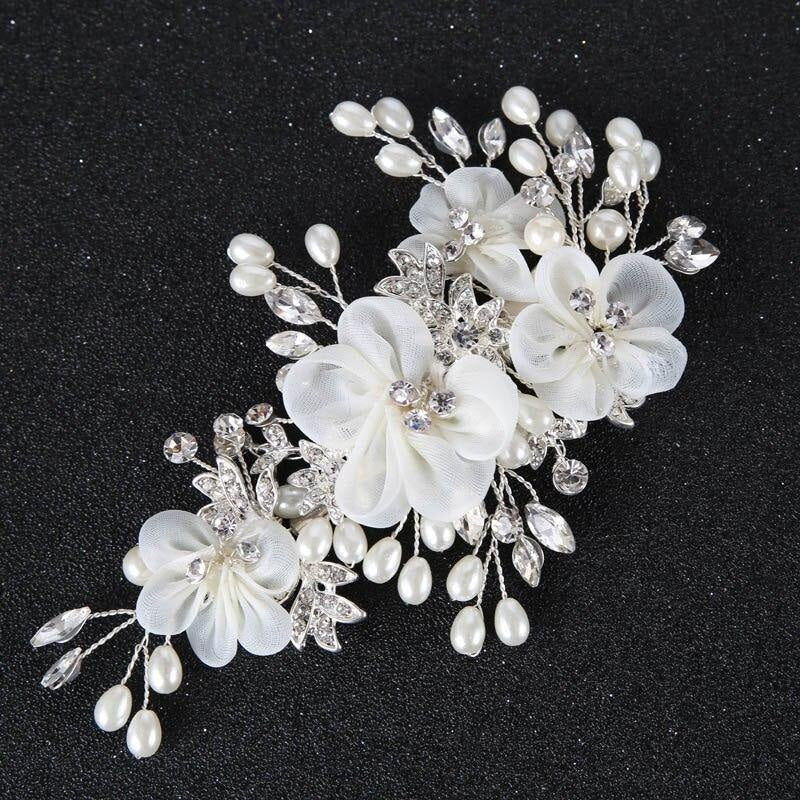 White Flower Pearl crystal Floral Headpieces | Bridelily - Same as picture colour - floral headpieces