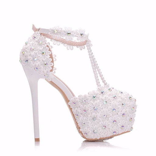 White Flowers Pearl Handmade Wedding Sandals | Bridelily - wedding sandals