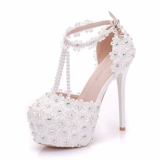 White Flowers Pearl Handmade Wedding Sandals | Bridelily - white / 34 - wedding sandals