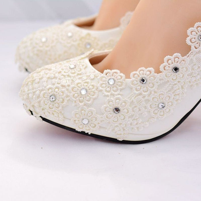 White High Heels Lace Flower Wedding Pumps | Bridelily - wedding pumps