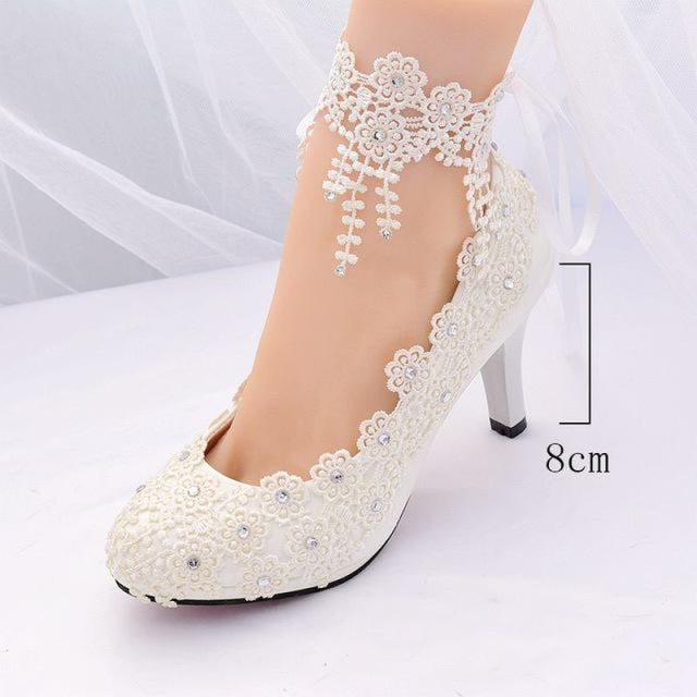 White High Heels Lace Flower Wedding Pumps | Bridelily - white 8cm / 3.5 - wedding pumps