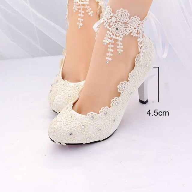 White High Heels Lace Flower Wedding Pumps | Bridelily - white 4.5cm / 3.5 - wedding pumps
