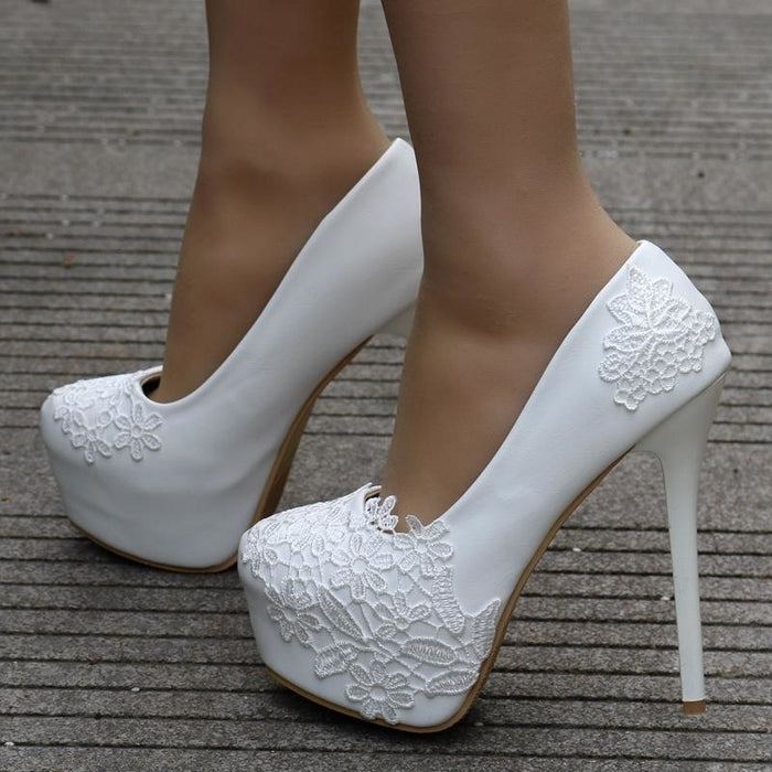 White Lace Beautiful High Heel Wedding Pumps | Bridelily - heels 14cm / 34 - wedding pumps
