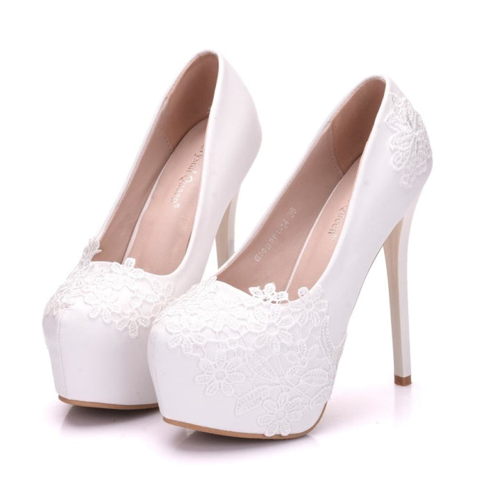 White Lace Beautiful High Heel Wedding Pumps | Bridelily - wedding pumps