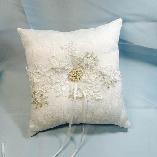 White Lace Coussin Alliance Wedding Ring Pillow | Bridelily - RP007J / 18cm x 18cm - ring pillows