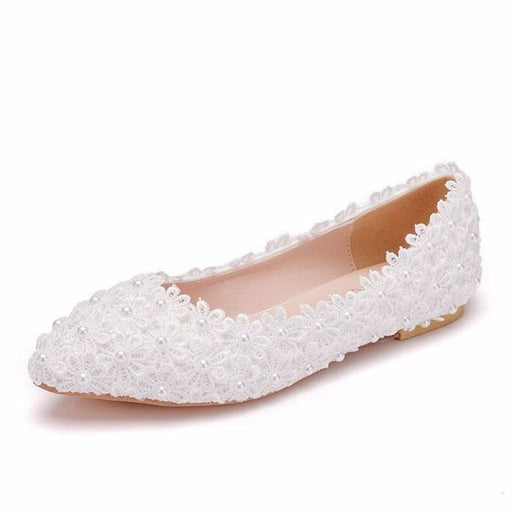 White Lace Flower Handmade Wedding Flats | Bridelily - wedding flats