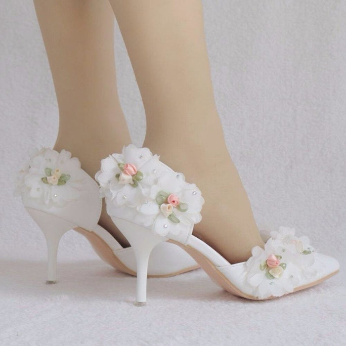 White Lace Flower High Heels Wedding Sandals | Bridelily - wedding sandals