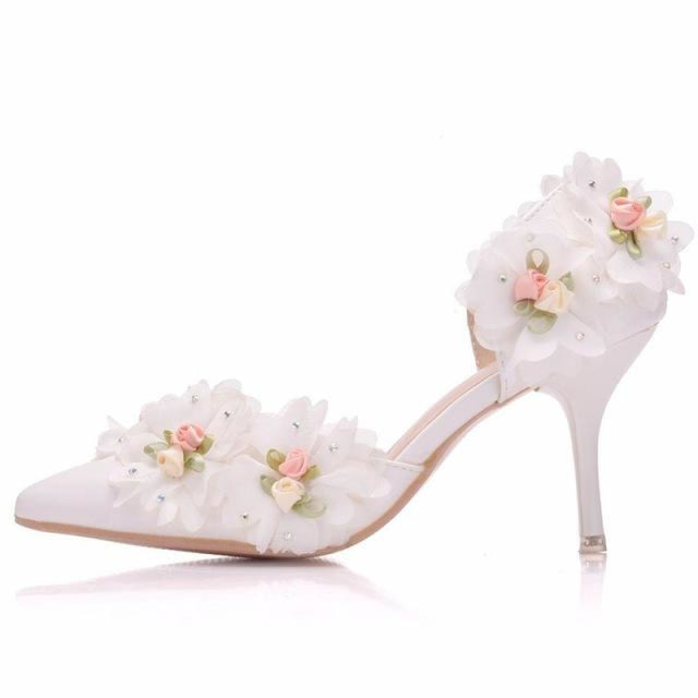 White Lace Flower High Heels Wedding Sandals | Bridelily - white / 34 - wedding sandals