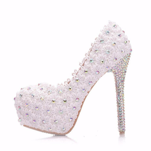 White Lace Flower Pearls Wedding Pumps | Bridelily - wedding pumps