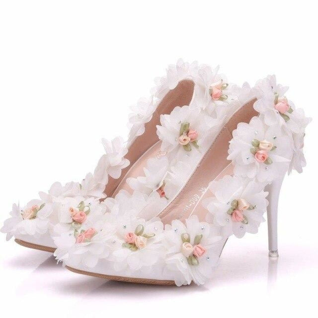 White Lace Flower Pointed Toe Wedding Pumps | Bridelily - WHITE / 34 - wedding pumps