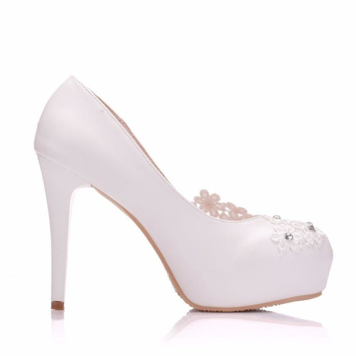 White Lace Flower Round Toe Wedding Pumps | Bridelily - wedding pumps