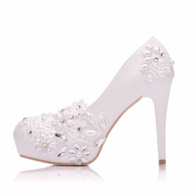 White Lace Flower Round Toe Wedding Pumps | Bridelily - white / 34 - wedding pumps
