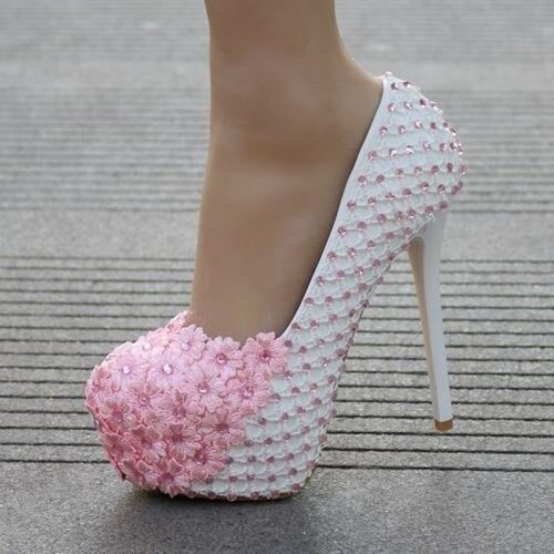 White Lace Flowers High Heels Wedding Pumps | Bridelily - pink / 34 - wedding pumps