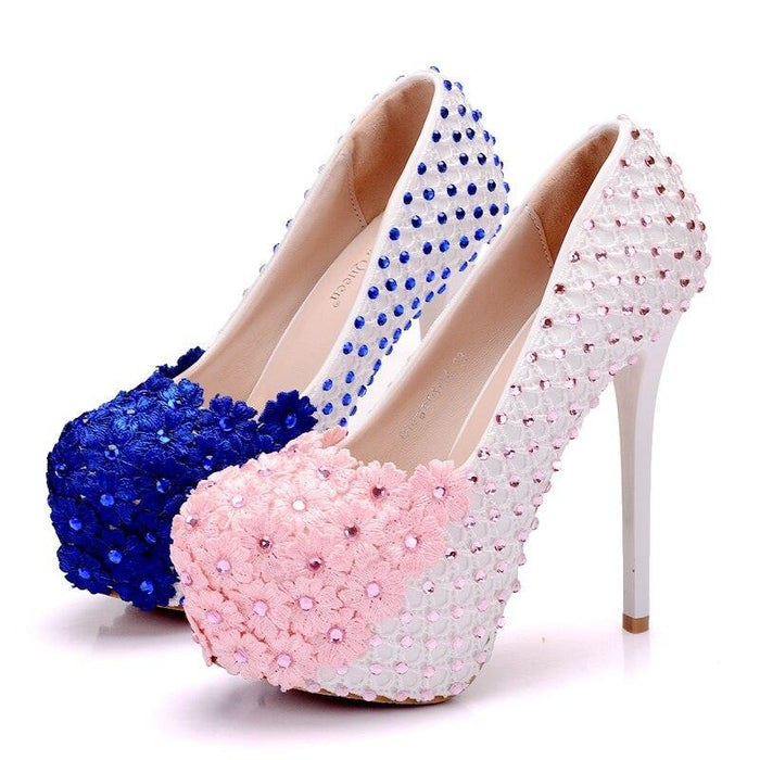 White Lace Flowers High Heels Wedding Pumps | Bridelily - wedding pumps