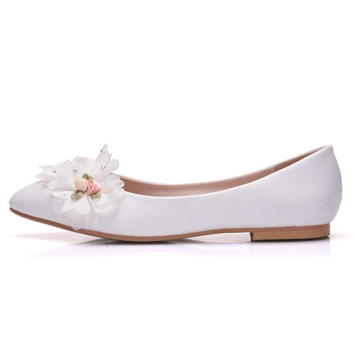 White Lace Flowers Pointed Toe Wedding Flats | Bridelily - wedding flats