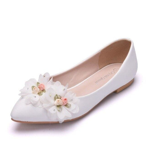 White Lace Flowers Pointed Toe Wedding Flats | Bridelily - white / 34 - wedding flats