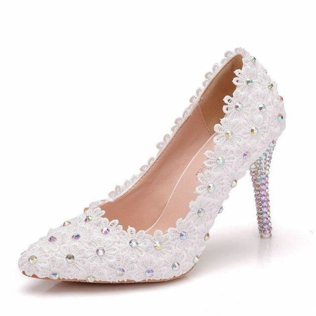 White Lace Flowers Thin Heels Wedding Pumps | Bridelily - white / 34 - wedding pumps