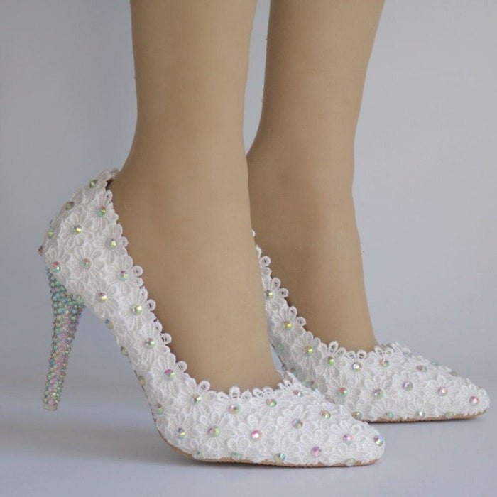 White Lace Flowers Thin Heels Wedding Pumps | Bridelily - wedding pumps
