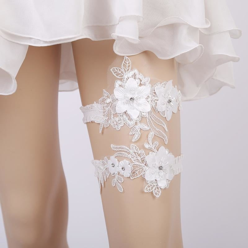 White Lace Handmade Crystal Wedding Garters | Bridelily - garters