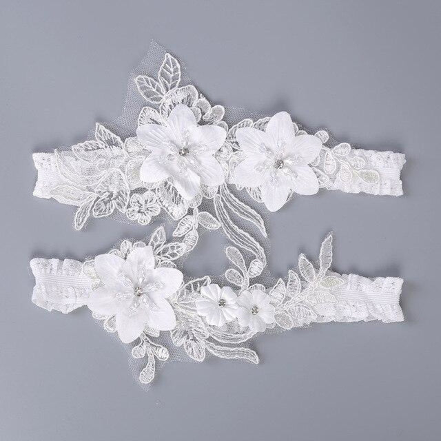White Lace Handmade Crystal Wedding Garters | Bridelily - White / One size - garters