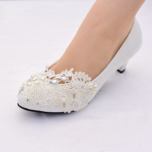 White Lace High Heels Pearls Wedding Pumps | Bridelily - wedding pumps