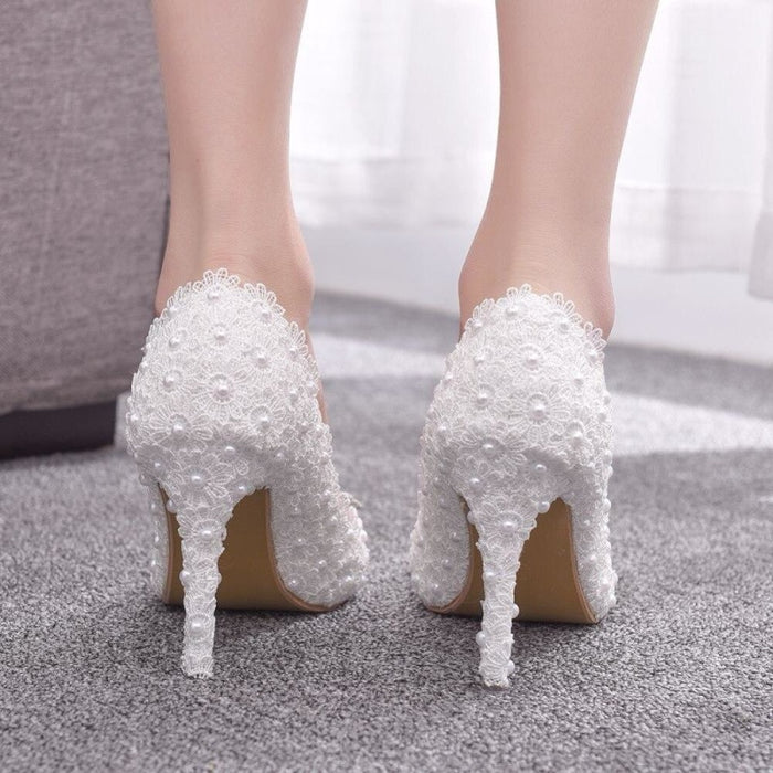 White Lace High Heels Princess Wedding Pumps | Bridelily - wedding pumps