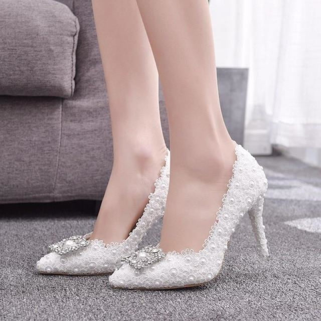 White Lace High Heels Princess Wedding Pumps | Bridelily - white / 34 - wedding pumps