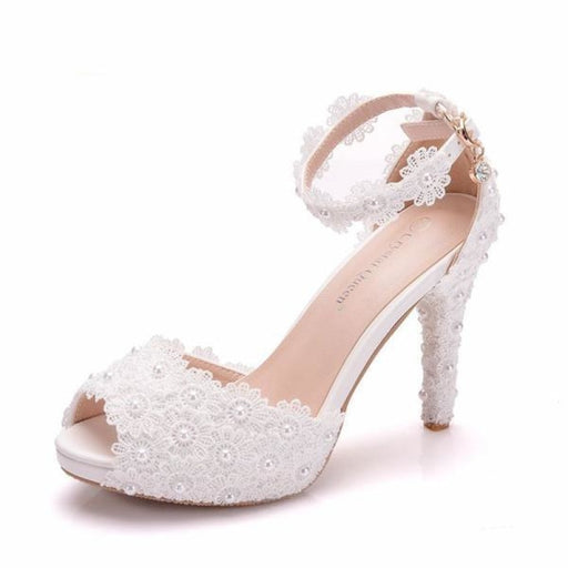 White Lace High Heels Wedding Sandals | Bridelily - WHITE / 34 - wedding sandals