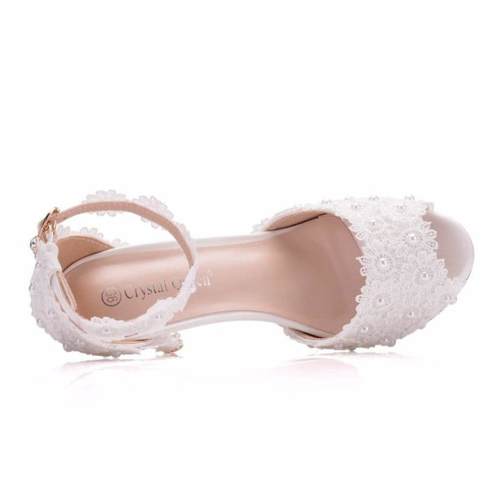 White Lace High Heels Wedding Sandals | Bridelily - wedding sandals